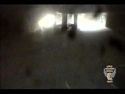 Ohio State Highway Patrol footage of Dakota Clouse's crash into the Sandusky post of the OSHP on Tue