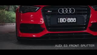 Flow Designs - Audi S3 8v PFL Sedan Front Splitter, Side Splitters & Valance Kit