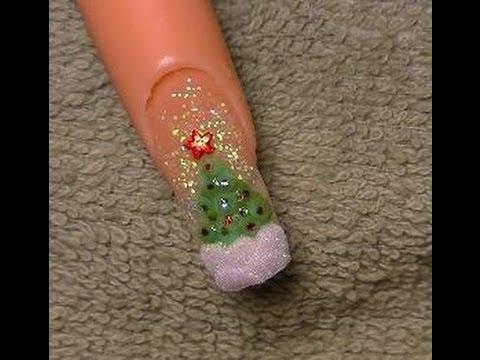 Acrylic Nails Tutorial - christmas tree - YouTube