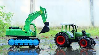 Fine Toys Construction Vehicles Under The Mud. Car Wash Toy, Video For Kids