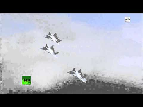Three AWESOME Russian air force  PAK FA T 50 in formation rival to US Air force F 22 new