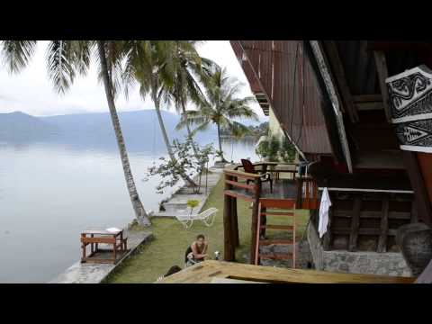 Traditional Batak house, Mas Cottages, Samosir island, lake Toba, Sumatra, Indonesia