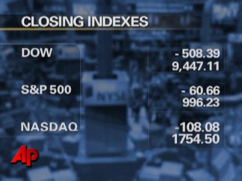 Dow Dips More Than 500 on Worries About Financia