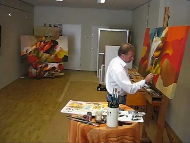 Blumen Farben und Moderne farbenfrohe Gemälde und Malerei
