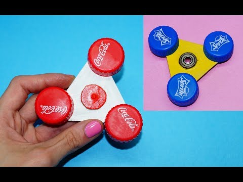 Awesome diy fidget spinner. How to make spinner Coca Cola and Sprite. EASY SPINNER TOYS / Julia DIY