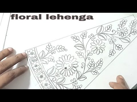 embroidery lehenga Design sketch on paper, fashion design sketches lehenga,