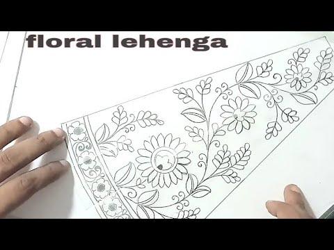 embroidery lehenga Design sketch on paper, fashion design sketches lehenga,
