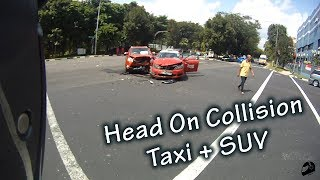 Head On Collision! Taxi + SUV