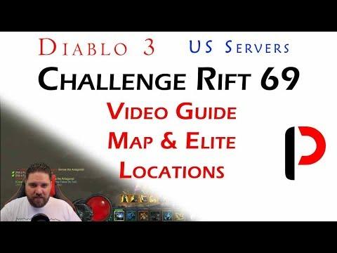 Diablo 3 - (US) Challenge Rift 69 - Map & Elite locations.  Hidden Channeling Pylon.