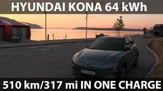 Hyundai Kona driving 510 km/318 mi in one charge