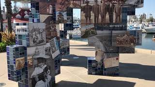 Public Art Mosaic shows Coronado's Tent City San Diego California - Free Stock Footage