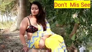 Bong Beauty yellow Saree Photoshoot || Desi hot aunty Saree lover