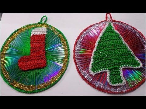 Adornos navide os de cds reciclados paso a paso youtube for Adornos navidenos origami paso a paso