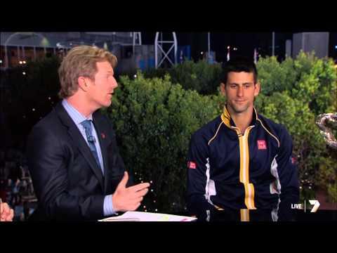 Novak Djokovic interview minutes after winning Australian Open 2013