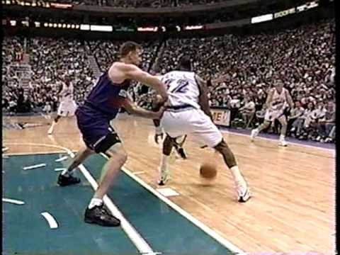Suns at Jazz - 4/9/99 - Malone game-winning 3 FT's - (Highlights)