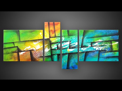 Abstract Painting using acrylic paints and masking tape   Satisfying   Wazer
