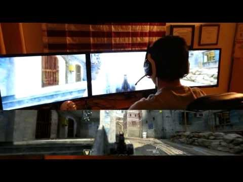 Black Ops 2 Triple Monitor Gaming Review (Nvidia Surround/ Eyefinity Gameplay. Triple Monitor Setup)