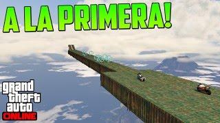 SUPER MEGA SALTO INCREIBLE A LA PRIMERA - Gameplay GTA 5 Online Funny Moments (Carrera GTA V PS4)
