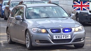 Unmarked BMW 330d police car responding responding with siren and lights
