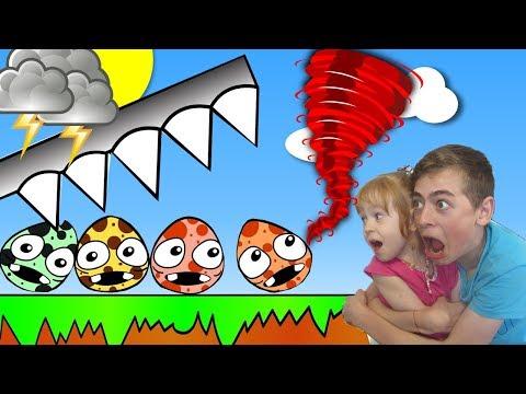 РАЗБИВАЕМ ЯЙЦА ТОРНАДО и ЗЕМЛЕТРЯСЕНИЕ  видео игра для детей на канале GAMES FACTORY
