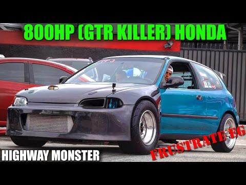 800HP TURBO CIVIC (GTR KILLER) TAKES OVER THE HIGHWAY - FRUSTRATE EG