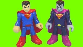 Imaginext Bizarro captures Construction worker and Superman Saves him Robot War Battle