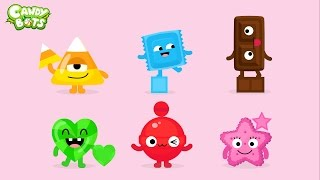 Candy Shapes (Candybots) - Draw 6 basic shapes circle, square, rectangle - Apps for Kids