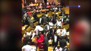 Sittende Zuma kyk toe hoe 'n falanks wagte EFF-lede verwyder