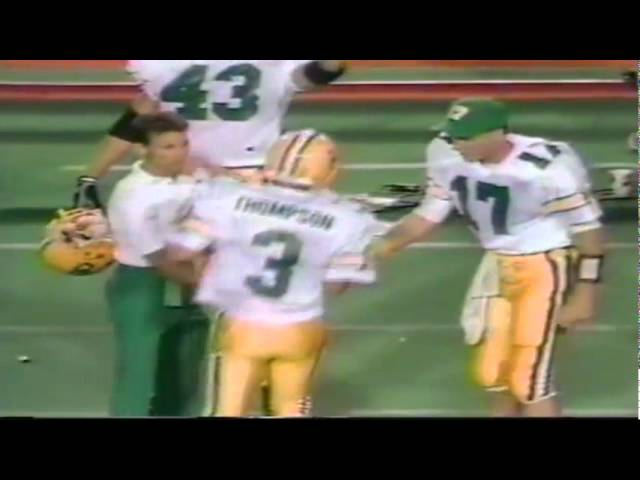 Oregon punter Tommy Thompson 46 yard punt out at the 3 vs. Texas Tech 9-14-91