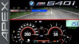 THE NEW BMW 540i SEDAN - FULL THROTTLE + CONTROLLED EMERGENCY STOP (2017)
