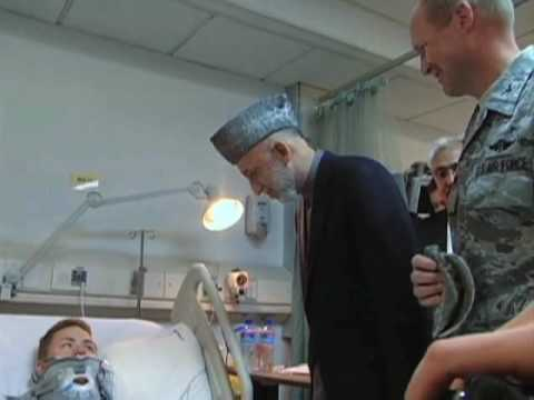 Afghan President Hamid Karzai Visits U.S. Hospital at Bagram Airfield
