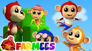 năm con khỉ nhỏ   vần cho trẻ sơ sinh   Five Little Monkeys   Preschool Song   Children Rhyme