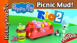 PLAY-DOH Mud or Poo? Rio Birds PRANK Peppa Pig Picnic Car! HobbyKidsTV