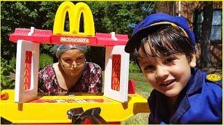 Greedy Grandpa takes McDonalds from Granny  | Kids Fun Pretend Play Toy Kitchen Set