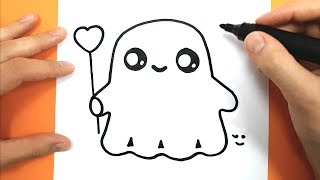 How to Draw and color a cute ghost - Easy Drawing Tutorial - HALLOWEEN