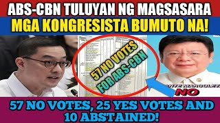 JUST IN: ABS-CBN TULUYAN NG MAGSASARA | MAMBABATAS BUMUTO NA | 57 NO VOTES OVER 25 YES VOTES!