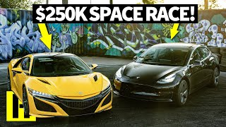 NSX vs Tesla: Supercar vs Electric car Drag Race