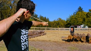 Mini Forged PFS Slingshot Shooting Test VS Can (Extra Clips)