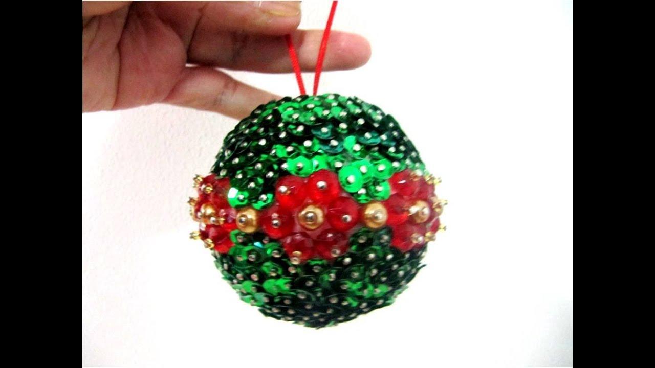 Esferas navide as flores piedras de cristal y lentejuelas - Decorar bolas de navidad ...