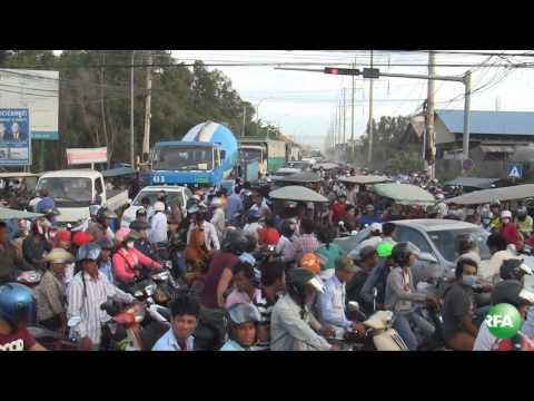 A Traffic Jam in Cambodia's Capital of Phnom Penh