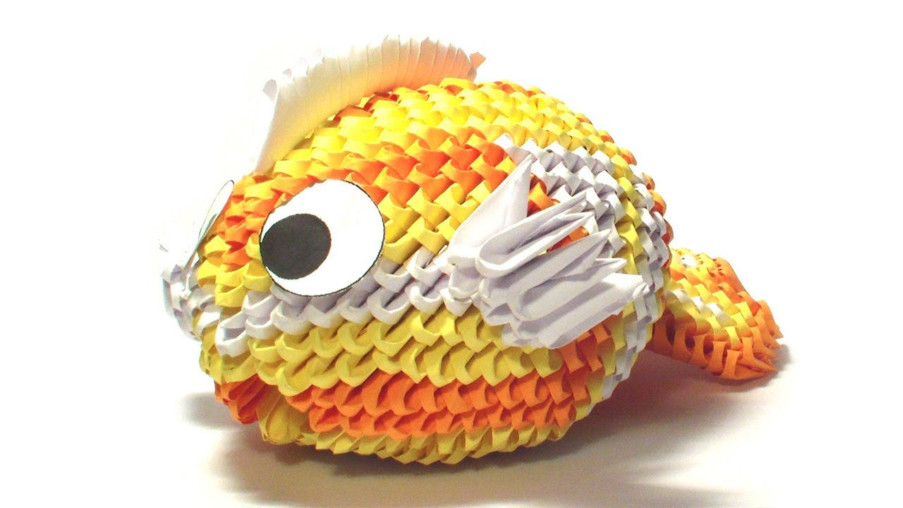 3d origami koi fish tutorial remake youtube for Origami koi fish