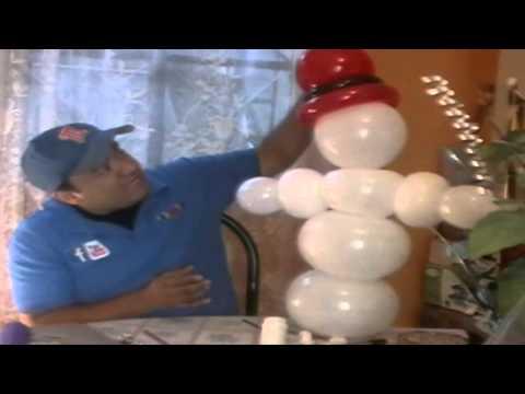 decoracion navideña con globos - muñeco de nieve
