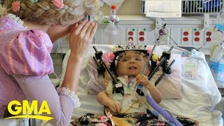23-month-old girl gets surprise Disney princess send-off after 6-week hospital stay | GMA Digital