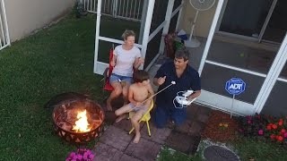 Family fire pit marshmellows and trampoline with Mom Phantom 3 Advanced