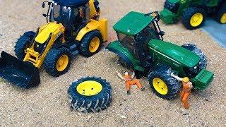 Bruder Tractor Broken Wheel JCB Backhoe Tractor Excavator Construction Toys Kids Action