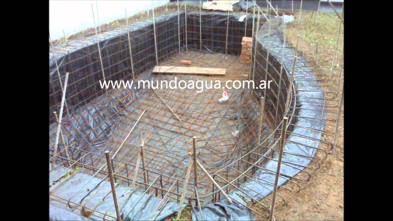 Construcci n de piscina youtube for Piscinas semienterradas