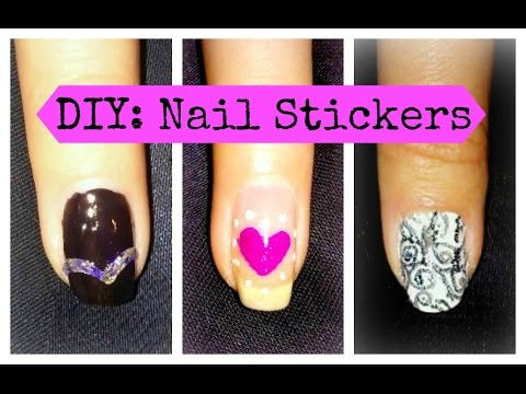 diy nail stickers  decals  3 simple designs using