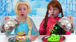 Elsa and Anna Pretend Play in Restaurant& Eat not Healthy food