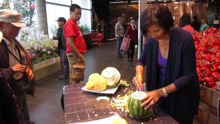 Sam from Thai Creations Carving a Watermelon