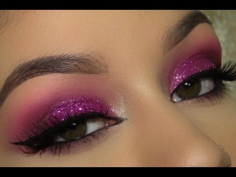 Pink Glitter Smokey Eye Makeup Tutorial